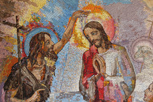 MEDJUGORJE, BOSNIA AND HERZEGOVINA, 2016. Mosaic Of The Baptism Of Jesus Christ By Saint John The Baptist As The First Luminous Mystery.