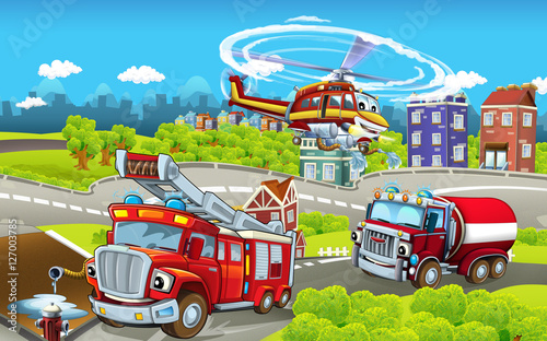 Fototapety, obrazy: Cartoon stage with different machines for firefighting - trucks and helicopter - colorful and cheerful scene - illustration for children