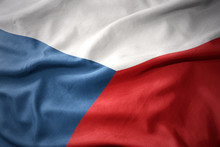 Waving Colorful Flag Of Czech Republic.