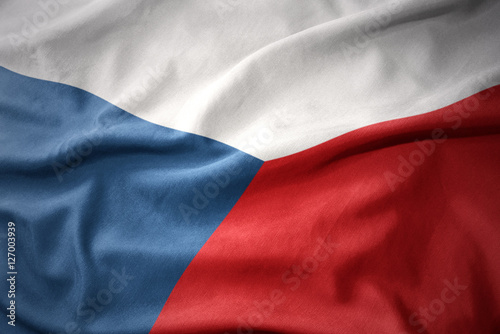 Photo  waving colorful flag of czech republic.