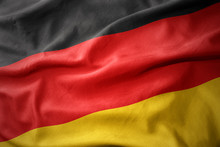 Waving Colorful Flag Of Germany.
