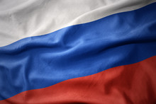 Waving Colorful Flag Of Russia.