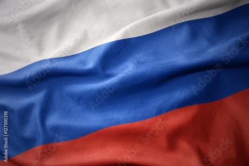 Wall Murals Northern Europe waving colorful flag of russia.