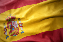 Waving Colorful Flag Of Spain.