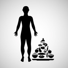Silhouette Man With Food Pyramid Icon Vector Illustration Eps 10