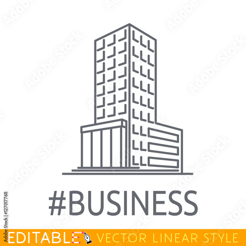 Hashtag Business building of big company. Sketch line flat design icon commerce architecture. Modern vector illustration concept.