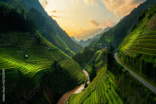 Foto  Terraced rice field in Mu Cang Chai, Vietnam