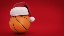 Christmas Concept. Orange Basket Ball. 3d Rendering