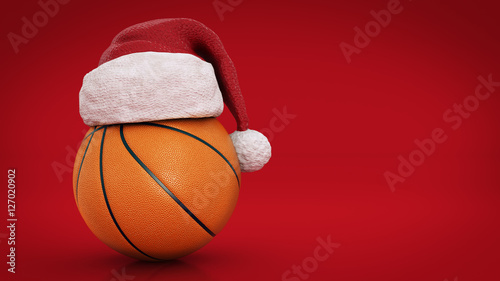 Christmas concept. Orange basket ball. 3d rendering © lchumpitaz