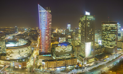 FototapetaWarsaw city with skyscrapers at night