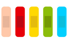Colored Medicine Plasters. Isolated Set With Five Colors. Flat Vector Illustrations. Vector EPS10.