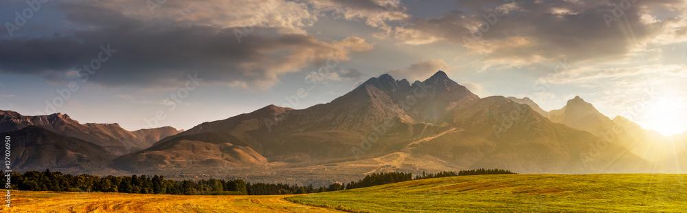 Fototapety, obrazy: rural field in Tatra mountains at sunrise