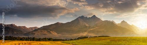 wiejski pole w Tatrach na wschód
