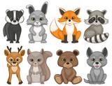 Fototapeta Fototapety na ścianę do pokoju dziecięcego - Cute forest animals isolated on a white background. Set of cartoon woodland animals. Set of prints for t-shirt design. Vector illustration.