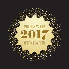 "Carte Bilingue ""MEILLEURS VŒUX – HAPPY NEW YEAR"""