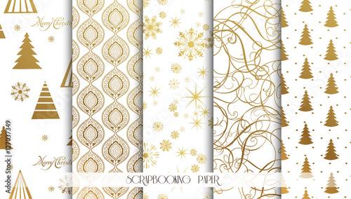 Stoffe zum Nähen Satz von Weihnachten nahtlose Hintergründe. Gold-Muster. Vektor