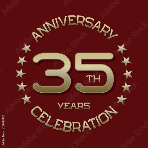 35th Anniversary Celebration Logo Symbol Golden Circular Editable