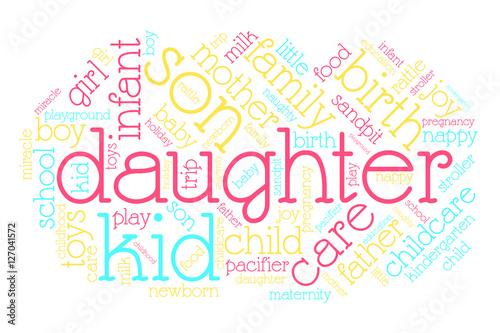 Daughter  Word cloud, italic font, white background  Family