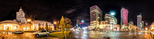 Night Skyline Of Warsaw With Soviet Era Palace Of Culture And Science And Modern Skyscrapers. 360 Degree Panoramic Montage From 20 Images