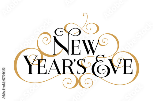 new years eve handwritten modern brush black text gold swirl white background