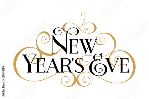 new years eve handwritten modern brush black text gold swirl white background