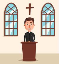 Young Catholic Priest. Cartoon...