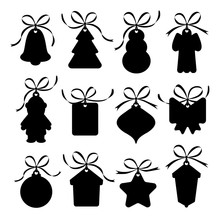 Silhouette Labels, Christmas Decorations With Ribbons.