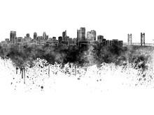 Sacramento Skyline In Black Watercolor On White Background