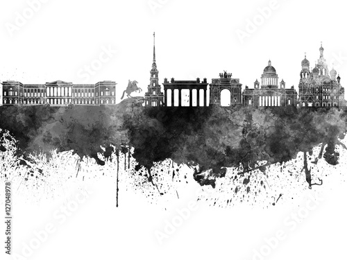 saint-petersburg-skyline-in-black-watercolor-on-white-background