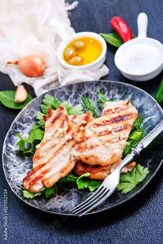 Deurstickers Klaar gerecht fried meat