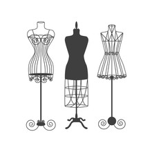 Vintage Mannequin Or Dummies Black Silhouette Vector