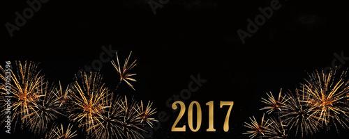 Fotografie, Obraz  2017 écrit sur fond noir avec feu d'artifice doré