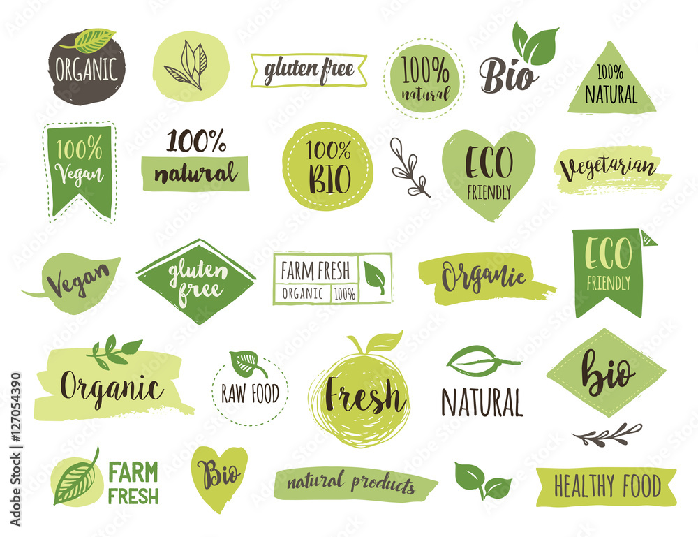 Fototapety, obrazy: Bio, Ecology, Organic logos and icons, labels, tags. Hand drawn bio healthy food badges, set of raw, vegan, healthy food signs, organic and elements set
