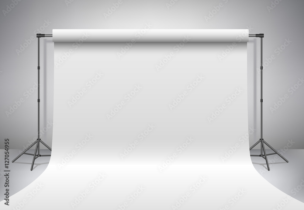 Fototapeta Empty photo studio. Realistic 3D template mock up. Backdrop stand (tripods) with white paper backdrop. Gray background.