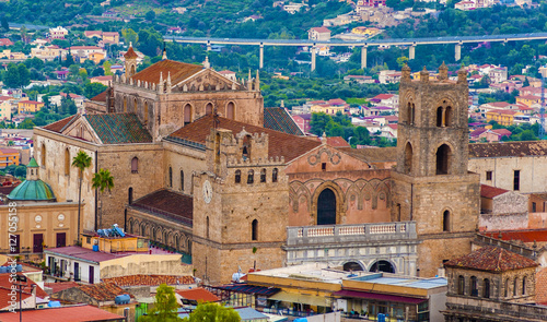 Tuinposter Palermo The Monreale Cathedral seen from the mountains that surround the town. Palermo. Italy