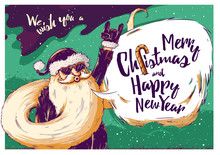 Hipster Christmas Card Or Invitation Flyer With Santa Claus
