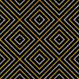 Geometric seamless pattern of gold silver diagonal lines or strokes, abstract seamless background of golden silvery rhombus, square, vector for paper, card, invitation, wrapping, textile, web design - 127059958