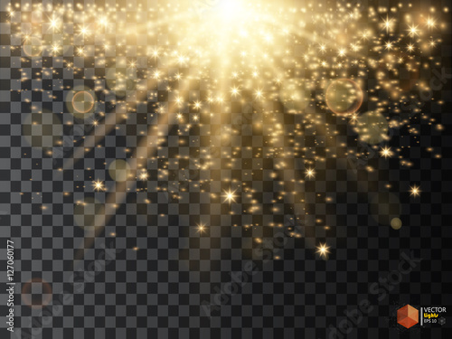 Abstract Light Overlay Effect On Transparent Background Vector Illustration Bokeh And Sparkles Golden