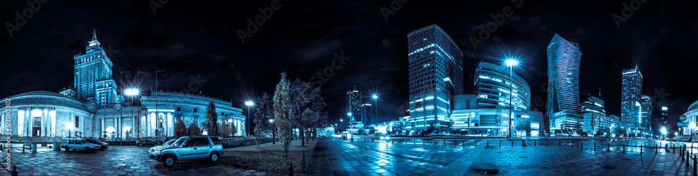 Fototapety, obrazy: Night skyline of Warsaw with soviet era Palace of Culture and science and modern skyscrapers. 360 degree panoramic montage from 20 images
