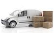 Furgoneta blanca para el transporte de mercancías urgentes o paquetería junto a cajones de madera apilados, vista desde un ángulo