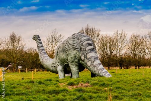 dinosaur park with models Billede på lærred