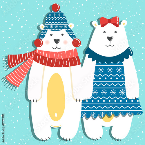 Stickers pour portes Hibou Funny couple of polar bears on a blue background with snow