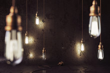 3d Render Mockup Loft Scene With Vintage Copper Electric Lamps With Smooth Bokeh Effect And Grunge Wall.