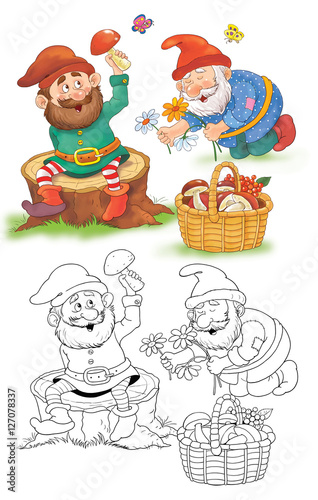 Snow White and seven dwarfs  Fairy tale  Illustration for