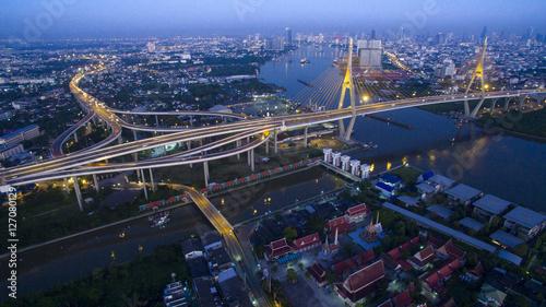 Keuken foto achterwand Canada aerial view of bhumibol bridge important landmark and traffic tr