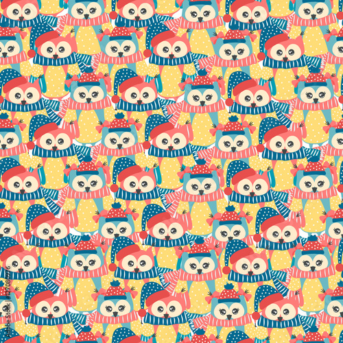 Stickers pour portes Hibou Seamless pattern of colorful owls on a white background