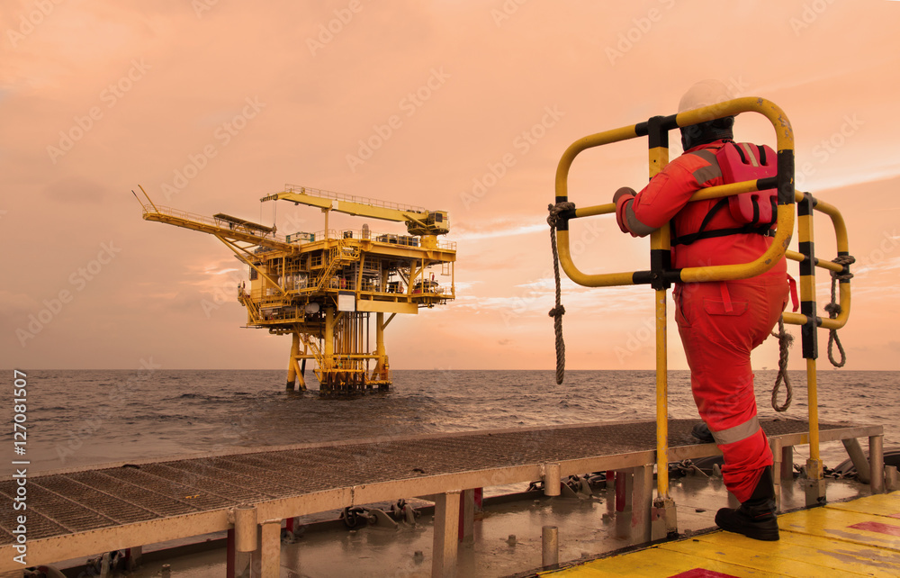 Fototapety, obrazy: workers on transport boat to offshore rig. industrial. energy. power oil and gas