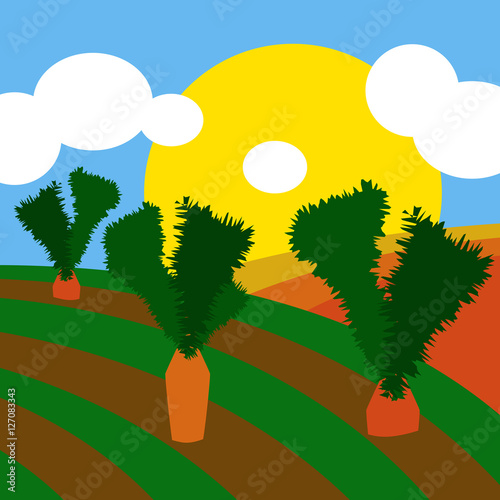 Foto op Plexiglas Groene Countryside illustration background with cultivated land fields