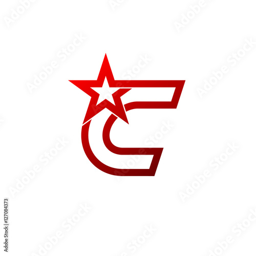 letter c logo red star sign branding identity corporate unusual logo