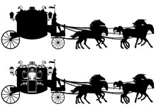 Retro Style Carriage With Horses Black And White Vector Design